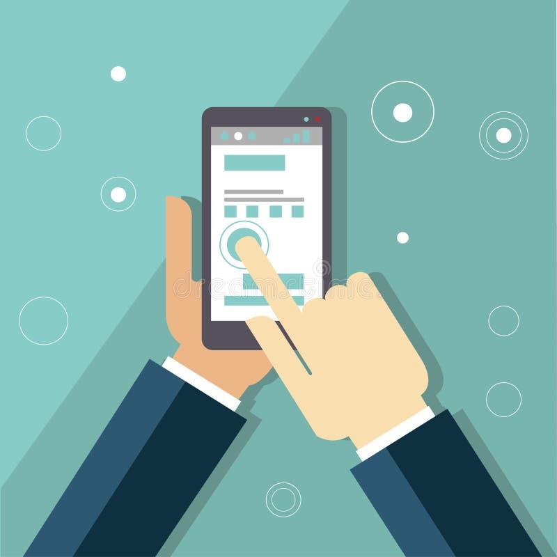 Infographics de los apps de Smartphone con una mano que sostiene a stock de ilustración