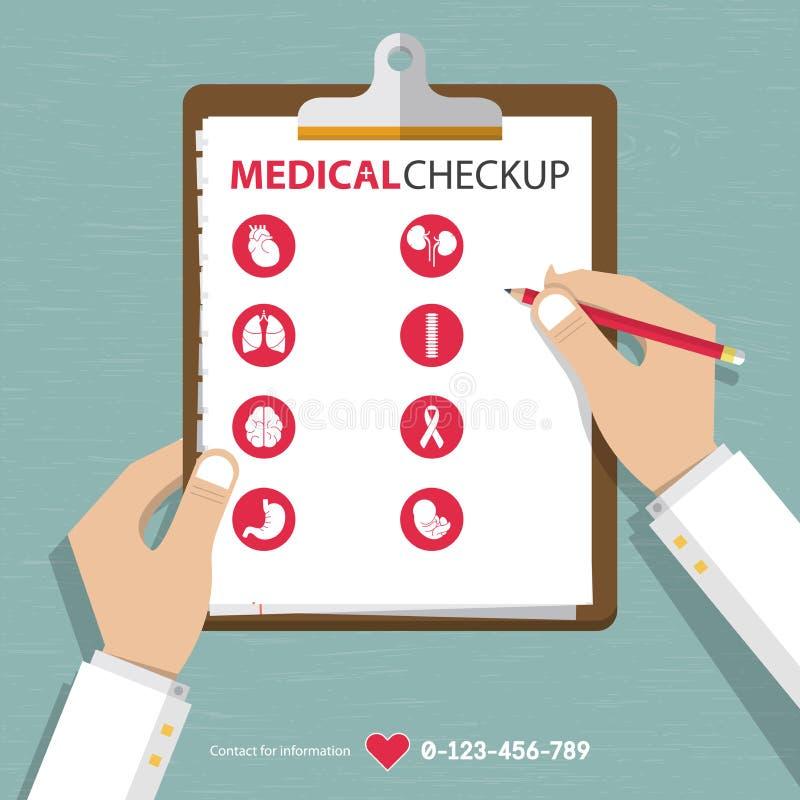 Infographics de los datos del informe del chequeo médico en diseño plano ilustración del vector