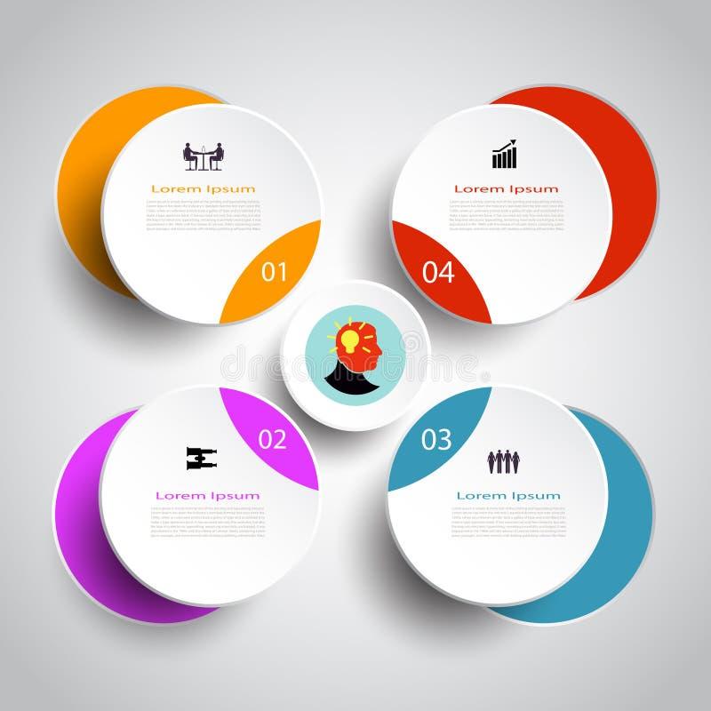 Infographics de los elementos del vector con el círculo y 3D para el paso 4 ilustración del vector