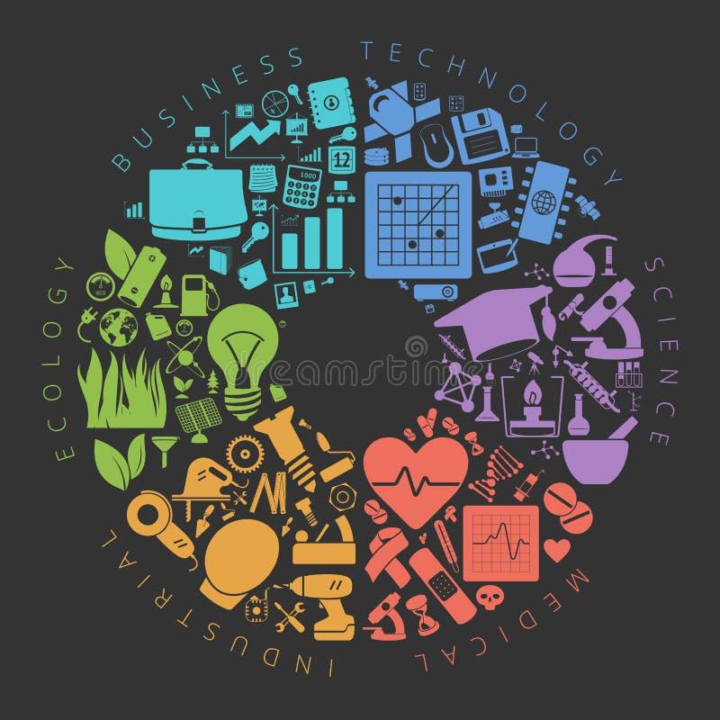 Infographics de los iconos del negocio, de la tecnología y de la ciencia ilustración del vector