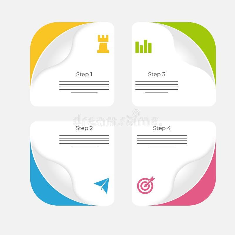 Infographics de papel, com gráficos, 4 etapas ilustração stock