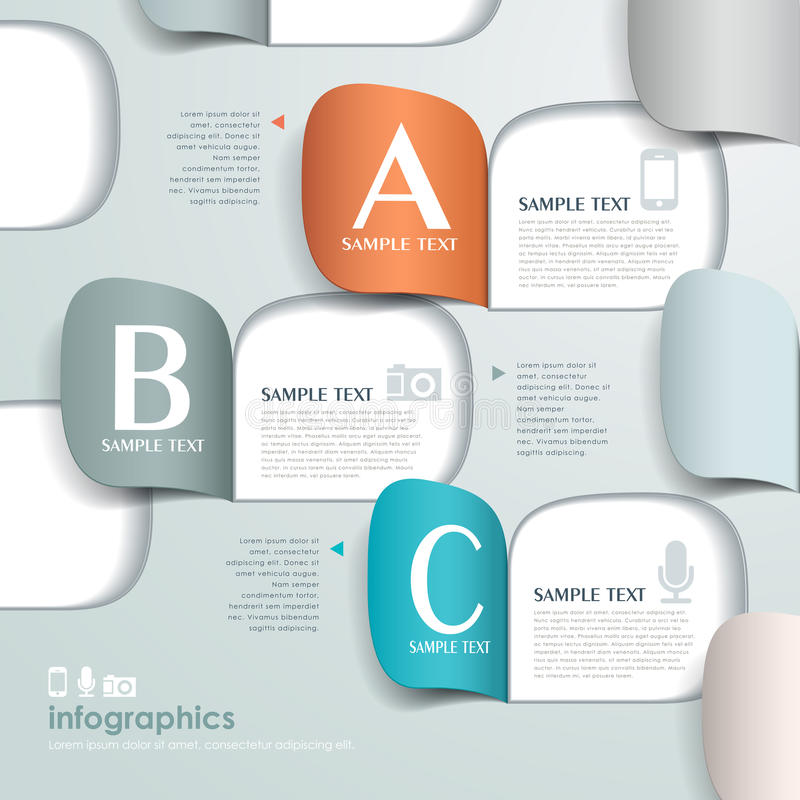Infographics de papel de la papiroflexia abstracta 3d del vector stock de ilustración