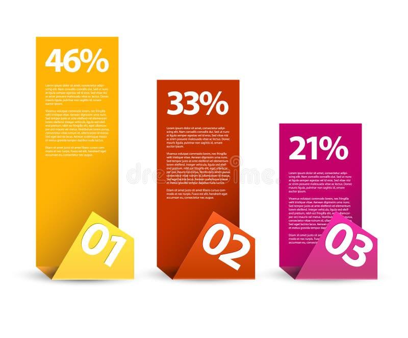 Infographics de papel del primer segundo tercer - vector ilustración del vector
