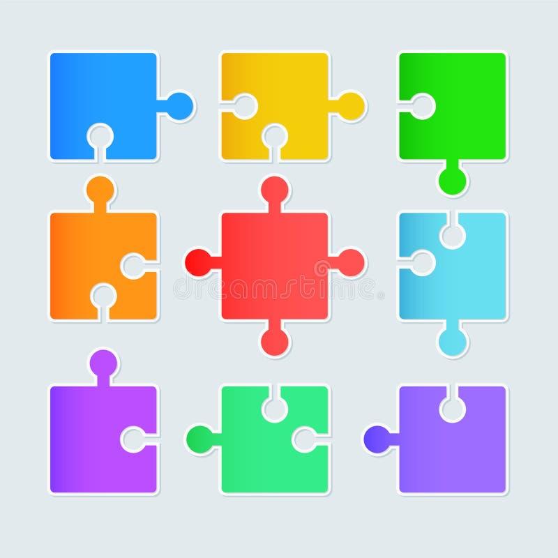 Infographics de papel del rompecabezas, ejemplo común del vector ilustración del vector