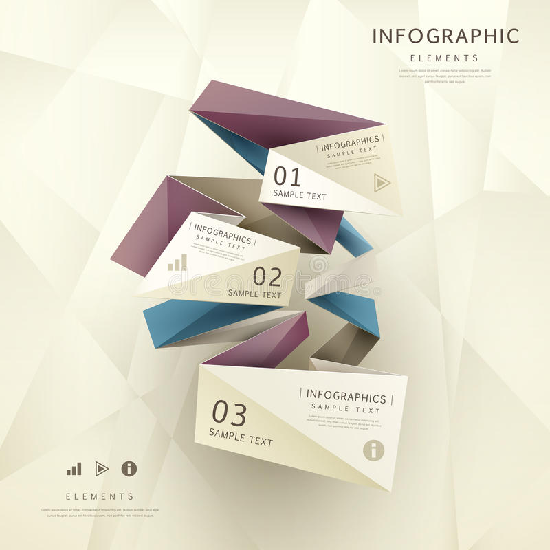 Infographics de papel do origâmi abstrato ilustração royalty free