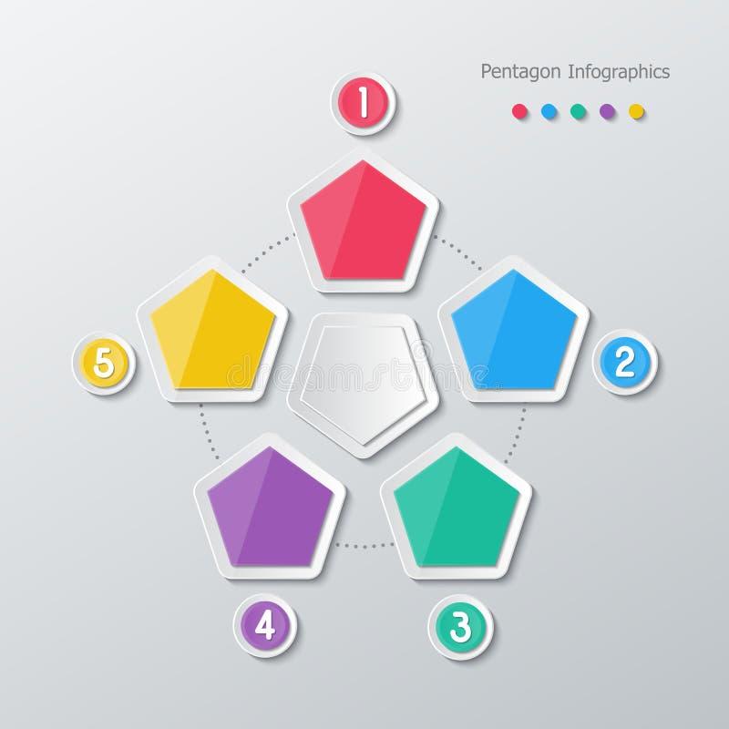 Infographics de papel do polígono ilustração royalty free