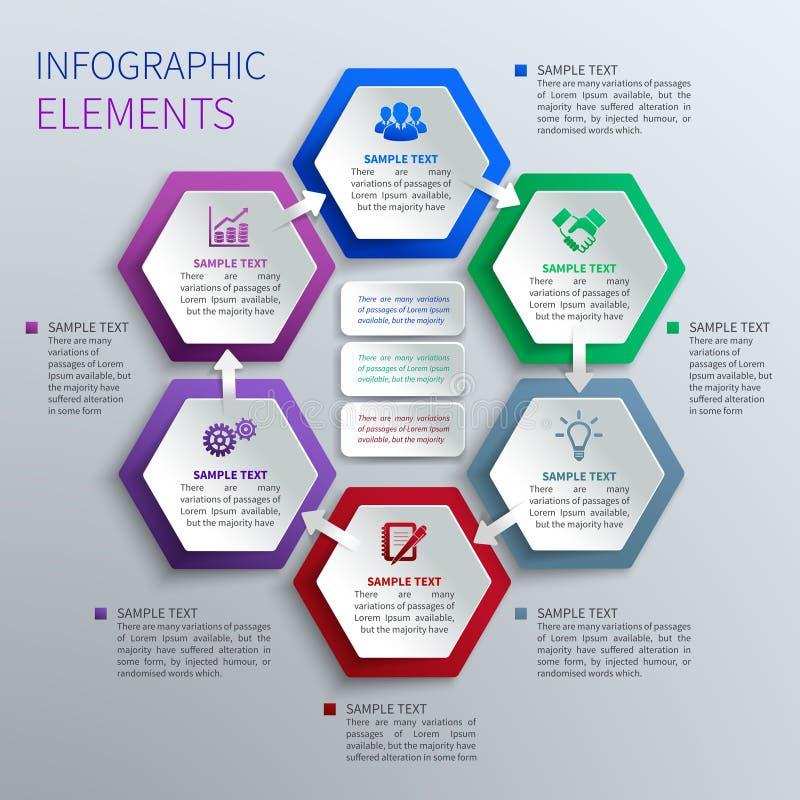 Infographics de papel dos hexágonos ilustração stock