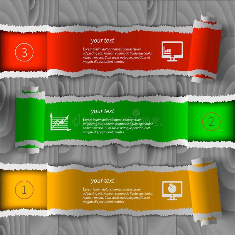 Infographics de papel rasgado ilustración del vector