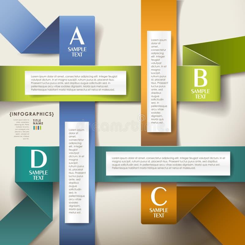 Infographics de papier de l'origami 3d abstrait de vecteur illustration stock