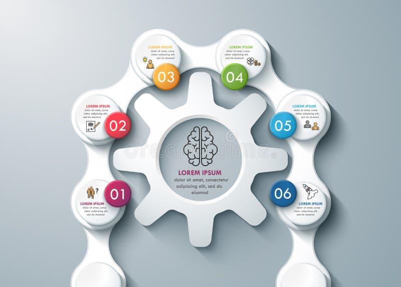 Infographics de pensamento do negócio das rodas e das correntes de engrenagem do whith do processo do projeto moderno ilustração do vetor