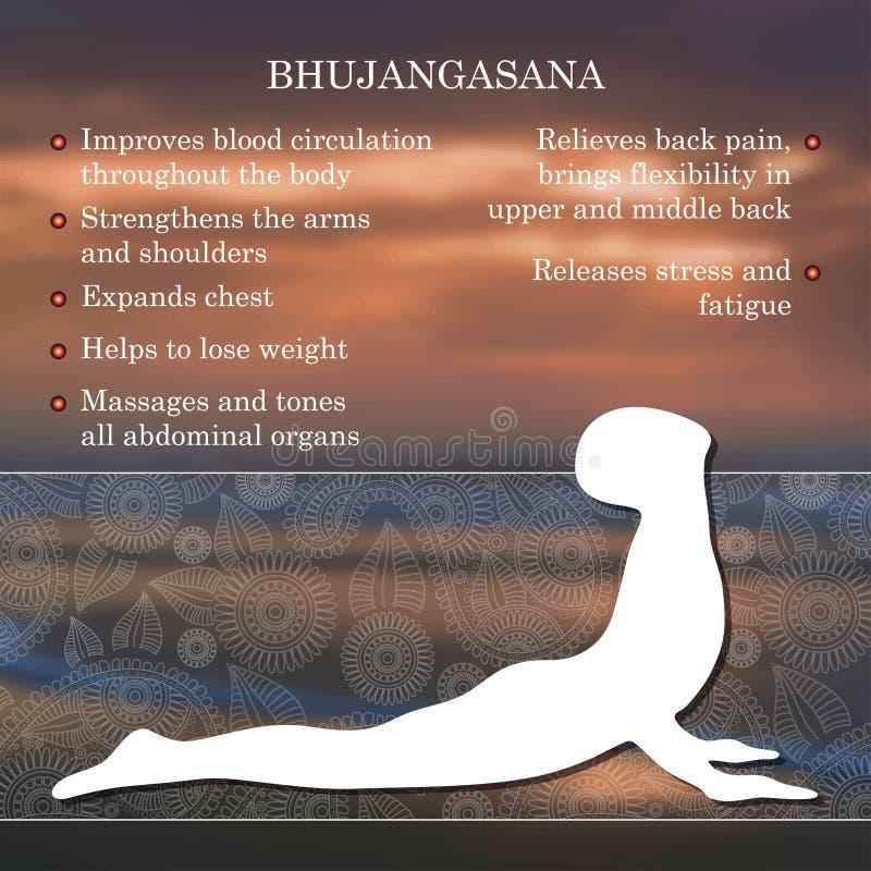 Infographics de pose de yoga, avantages de la pratique illustration libre de droits