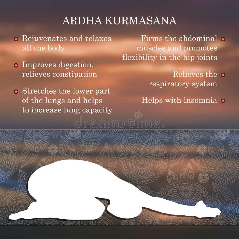 Infographics de pose de yoga, avantages de la pratique illustration stock