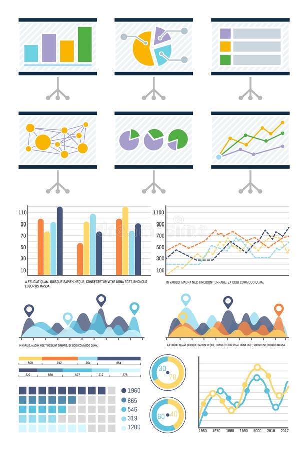 Infographics, de Presentatie van Stroomschema'swhiteboard vector illustratie