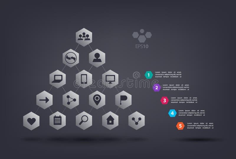 Infographics de pyramide de vecteur avec des icônes de Web L'élément abstrait du diagramme, graphique, diagram 5 étapes, options, illustration stock
