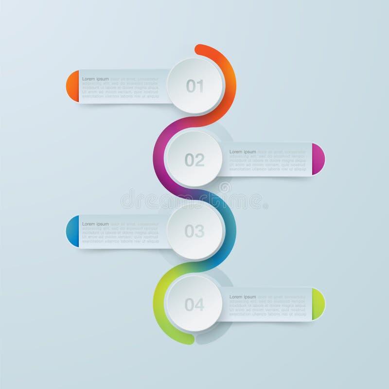 Infographics de quatre étapes Calibre pour le diagramme illustration libre de droits