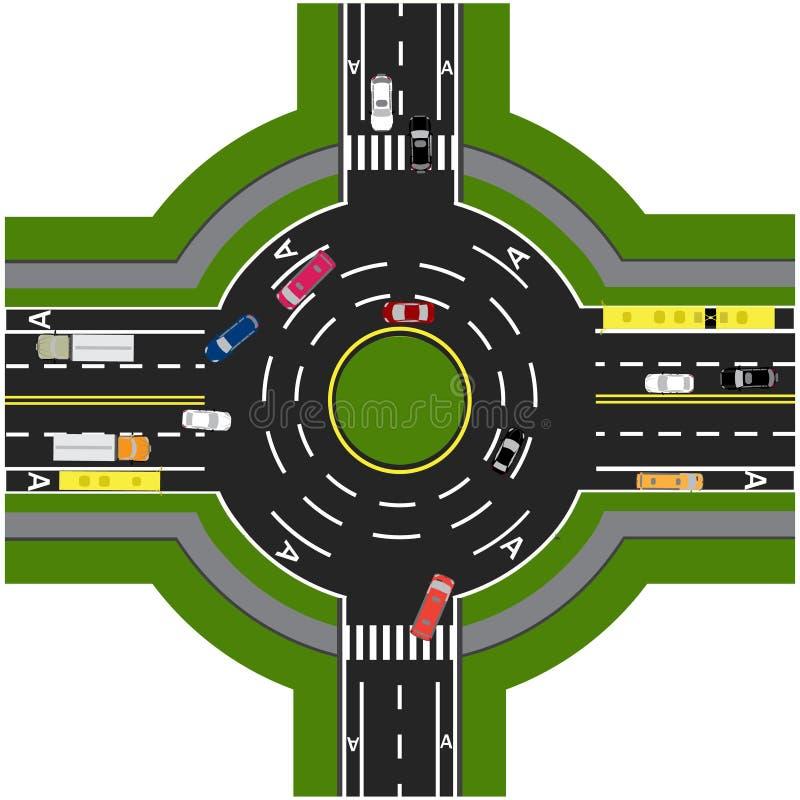 Infographics de route Échange de route, ronds points Il montre le mouvement des voitures illustration libre de droits