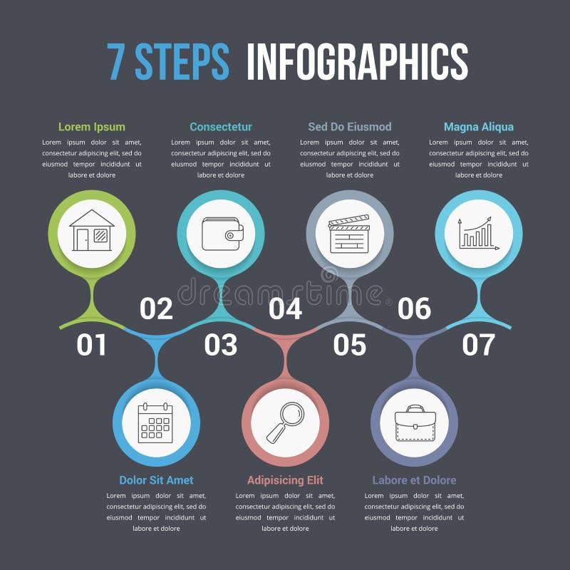 Infographics de siete pasos libre illustration