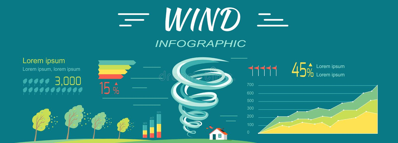 Infographics de vent Bannières de tornade et d'ouragans illustration libre de droits