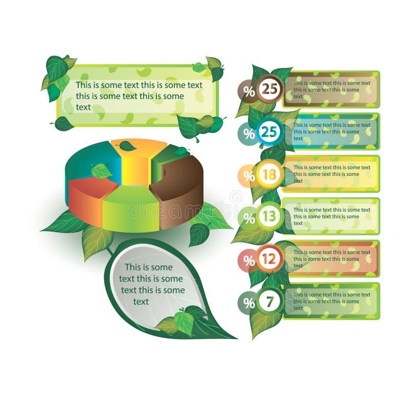 Infographics dekorował z liśćmi drzewa zdjęcia stock