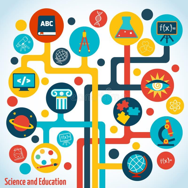 Infographics del árbol de la ciencia stock de ilustración