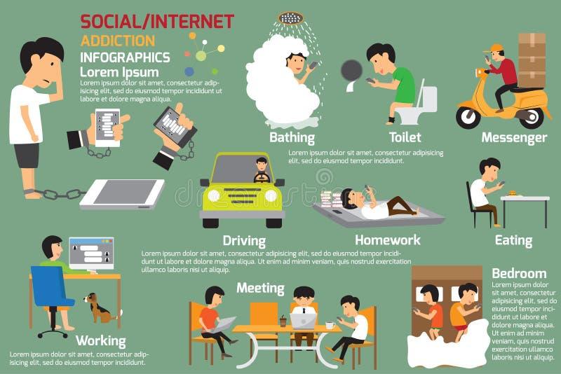 Infographics del apego del Social o de Internet stock de ilustración