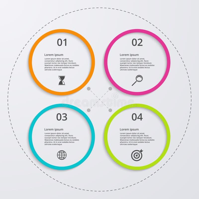 Infographics del ejemplo del vector cuatro círculos libre illustration