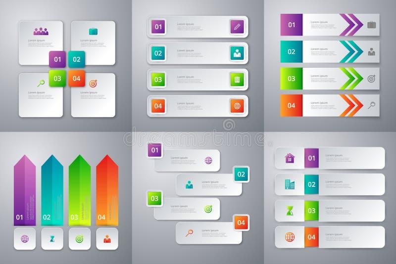 Infographics del ejemplo del vector Sistema de seis plantillas coloridas stock de ilustración