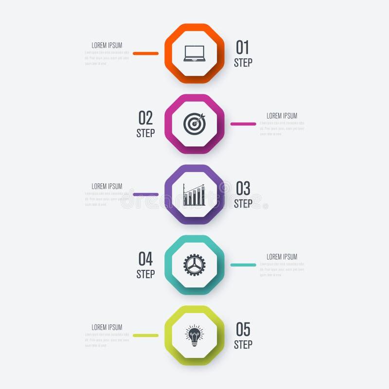 Infographics del ejemplo del vector 5 opciones stock de ilustración