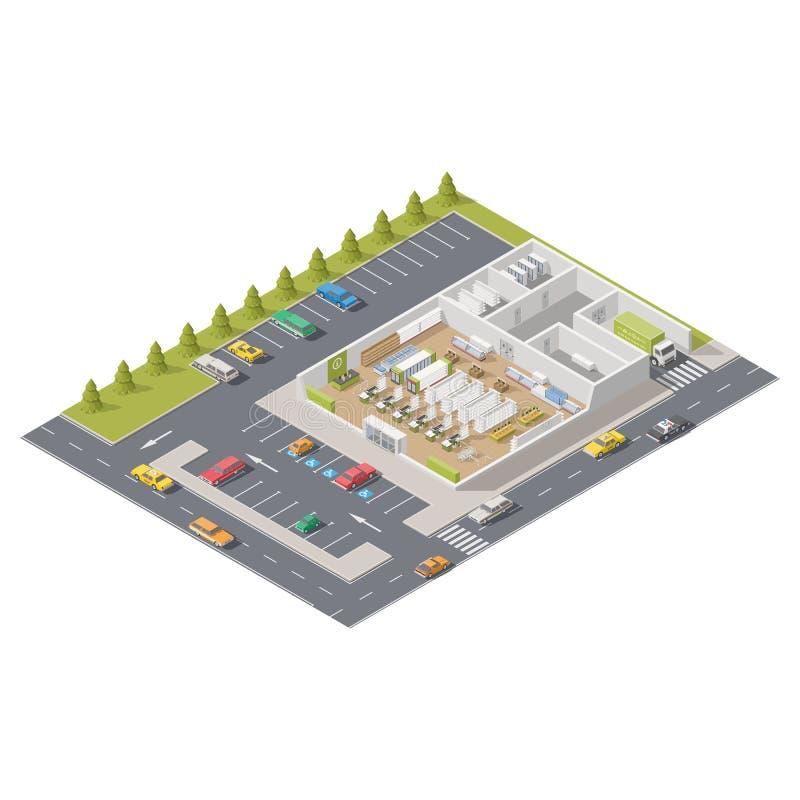 Infographics del elemento que representa el supermercado en la sección con el estacionamiento situado en la calle stock de ilustración