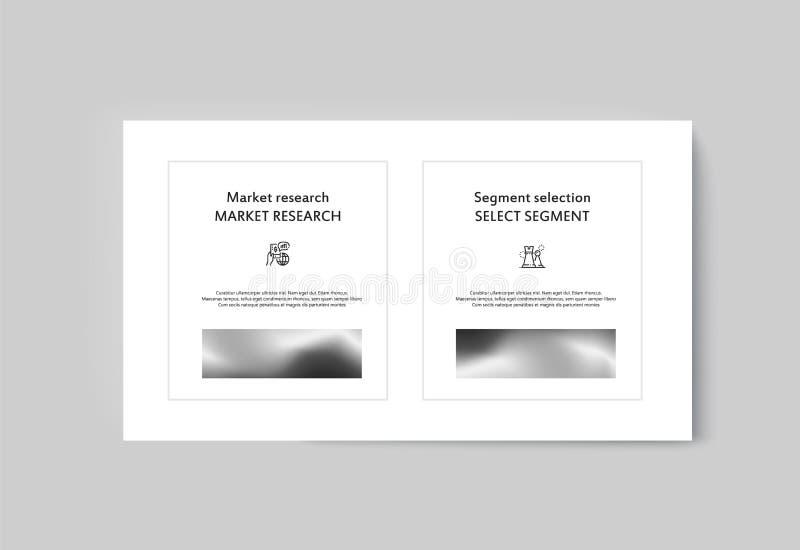 Infographics del folleto de la presentación del negocio que hace publicidad de bienes y servicios foto de archivo