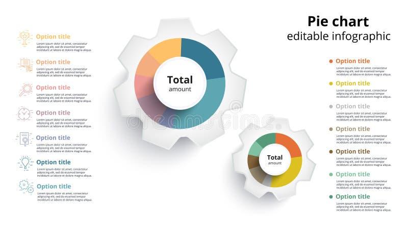 Infographics del gráfico de sectores del negocio con segmentos editable Ceirlce stock de ilustración