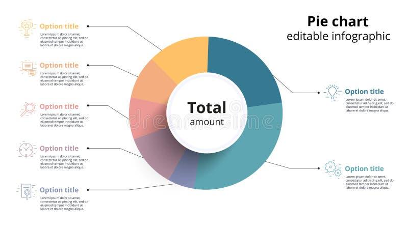 Infographics del gráfico de sectores del negocio con segmentos editable Ceirlce ilustración del vector
