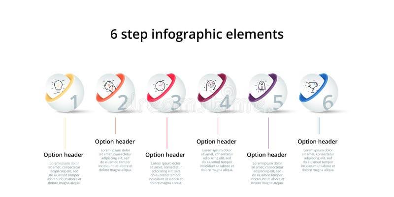 Infographics del grafico di processo aziendale con 6 cerchi di punto Elementi corporativi circolari del grafico di flusso di lavo illustrazione di stock