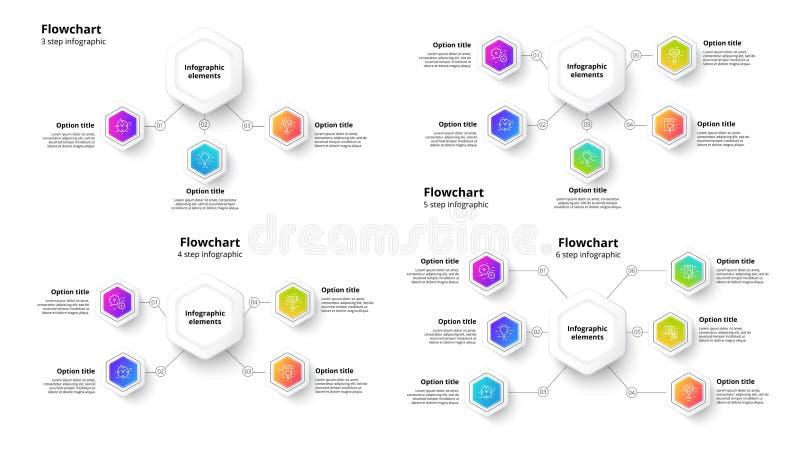Infographics del grafico di processo aziendale con 3 - 6 segmenti di punto C royalty illustrazione gratis