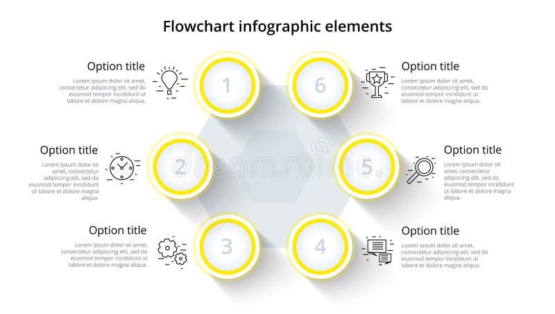 Infographics del grafico di processo aziendale con 6 segmenti di punto Circul illustrazione di stock