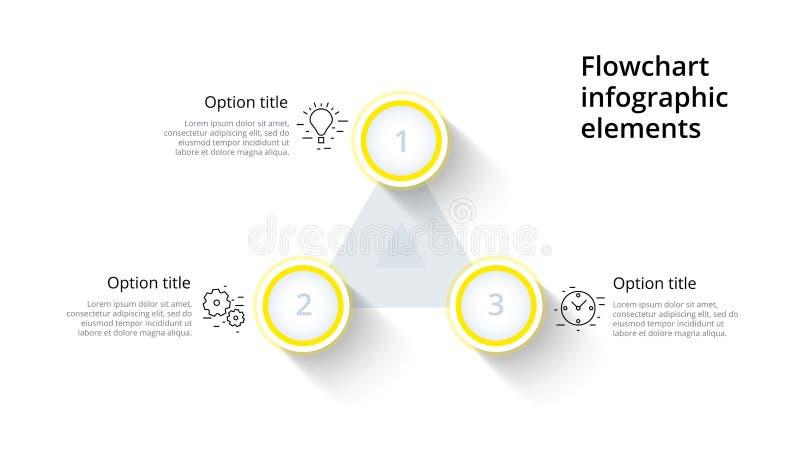 Infographics del grafico di processo aziendale con 3 segmenti di punto Circul illustrazione vettoriale