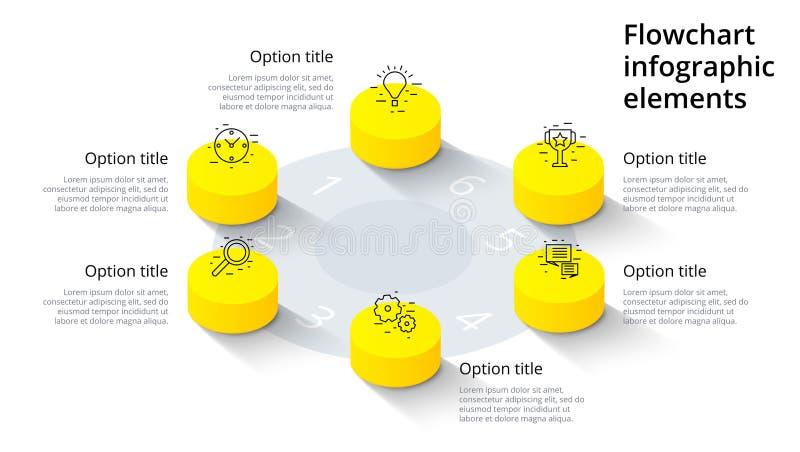Infographics del grafico di processo aziendale con 6 segmenti di punto Isomet illustrazione vettoriale