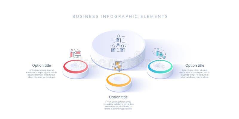 Infographics del grafico di processo aziendale con 3 segmenti di punto Isomet royalty illustrazione gratis
