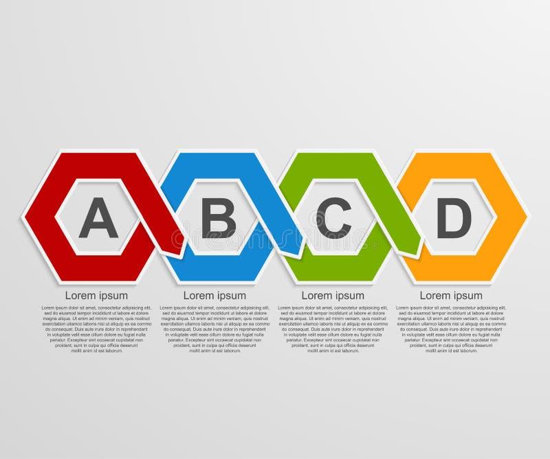 Infographics del hexágono del papel 3D o plantilla abstracto de la cronología stock de ilustración