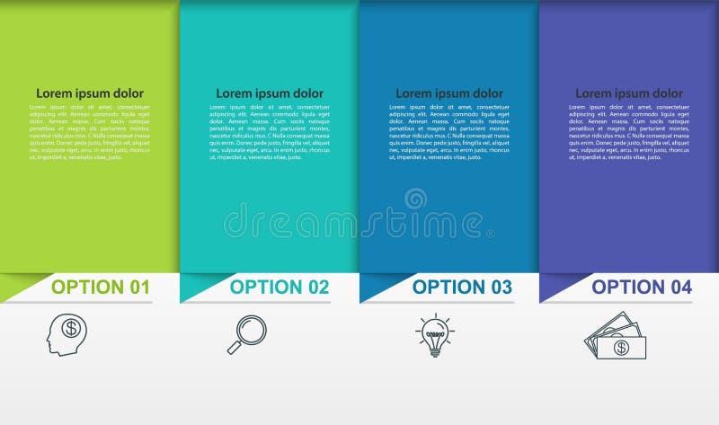 Infographics del negocio con 4 pasos o procesos coloridos Cronología con los pictogramas lineares stock de ilustración