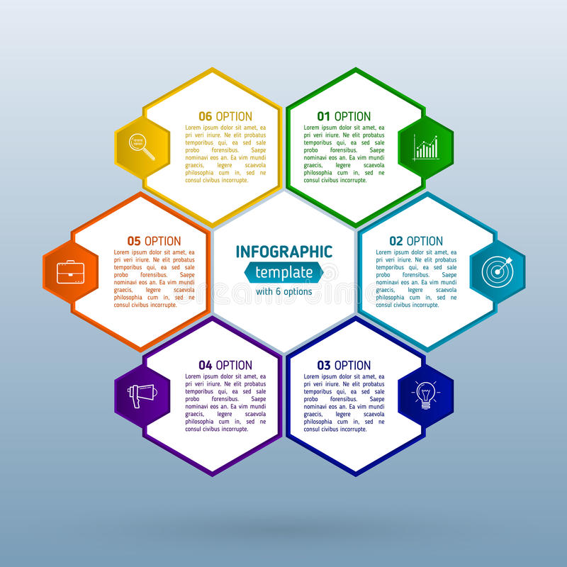 Infographics del negocio con seis pasos para el éxito Optio abstracto stock de ilustración