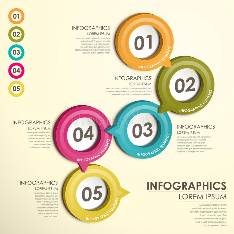 Infographics del organigrama de la etiqueta del círculo stock de ilustración