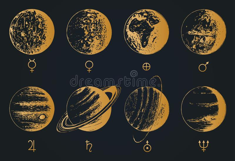 Infographics del sistema solare nel vettore Un'illustrazione disegnata a mano di otto pianeti royalty illustrazione gratis