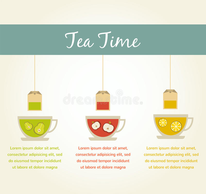 Infographics del té de la fruta stock de ilustración