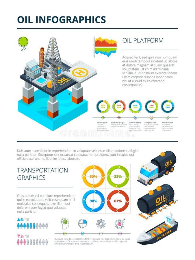 Infographics del tema de la producción de la industria de petróleo libre illustration