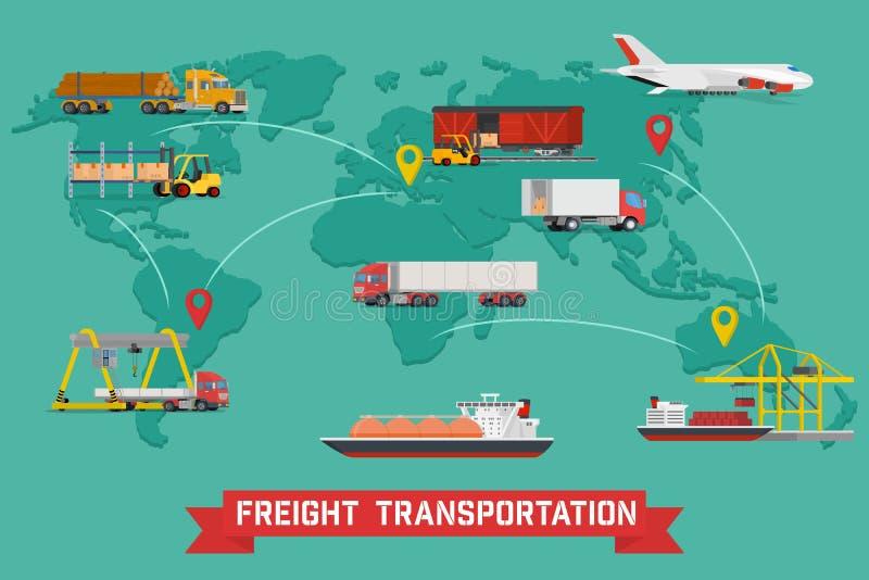 Infographics del transporte y del empaquetado de carga libre illustration