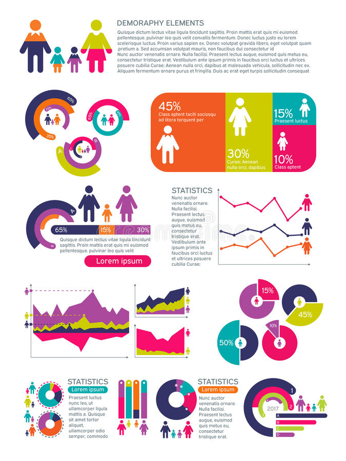 Infographics del vector de la población de la gente con las cartas de negocio, los diagramas y los iconos de la mujer del hombre  ilustración del vector
