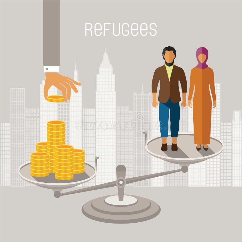 Infographics del vector de los refugiados de la guerra civil Emigrantes de zonas del conflicto stock de ilustración