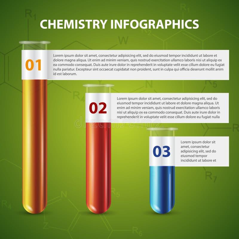 Infographics del vidrio de tubo de ensayo de la plantilla ilustración del vector
