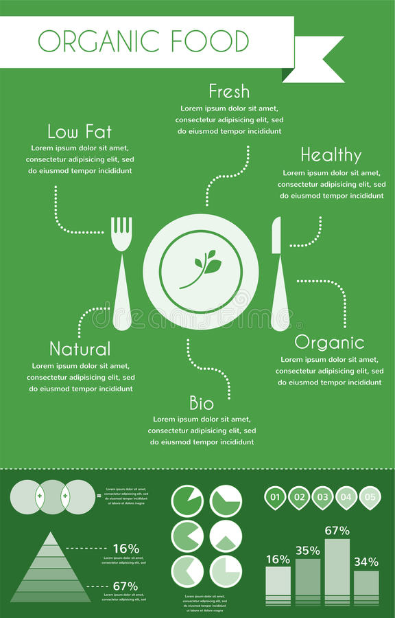 Infographics dell'alimento biologico illustrazione di stock
